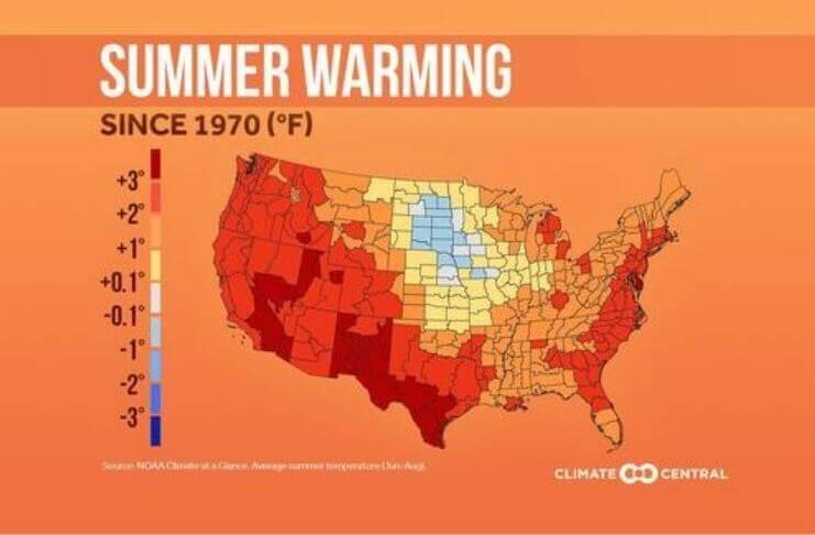 Mapa das tendências de temperatura do verão nos EUA desde 1970