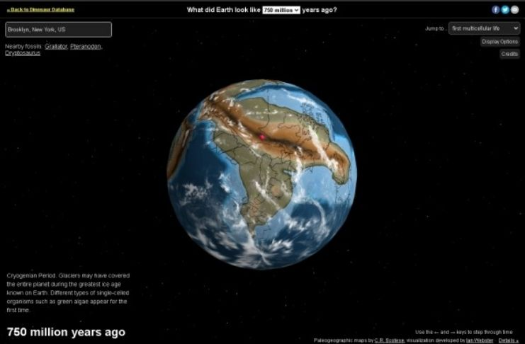 Mapa interativo mostra a história do mundo em 750 milhões de anos