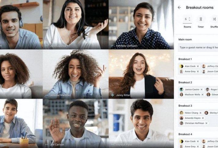 Novo recurso do Google Meet permite videochamada com até 100 salas simultâneas