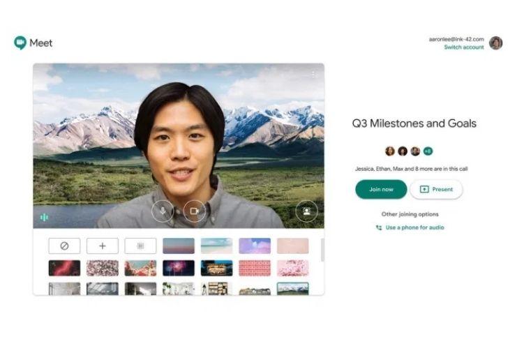 Google Meet permite videochamada com opções de fundos personalizados