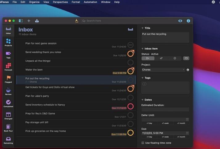 Novos widgets em atualização do OmniFocus para MacOS