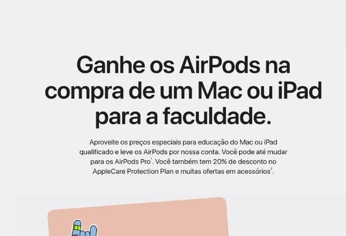 Apple relança promoção 'De volta à universidade' com AirPods gratuitos no Brasil
